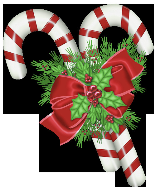 Christmas Candy Canes  Transparent Christmas Candy Canes with Mistletoe PNG