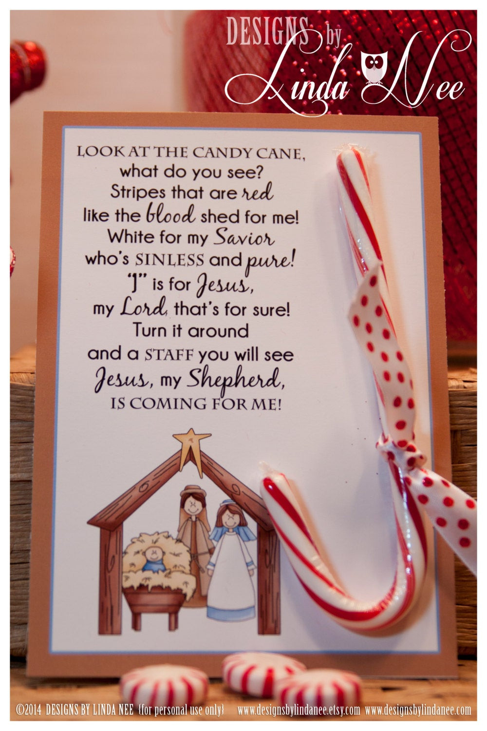 Christmas Candy Canes Story  Legend of the Candy Cane Nativity Card for Witnessing at