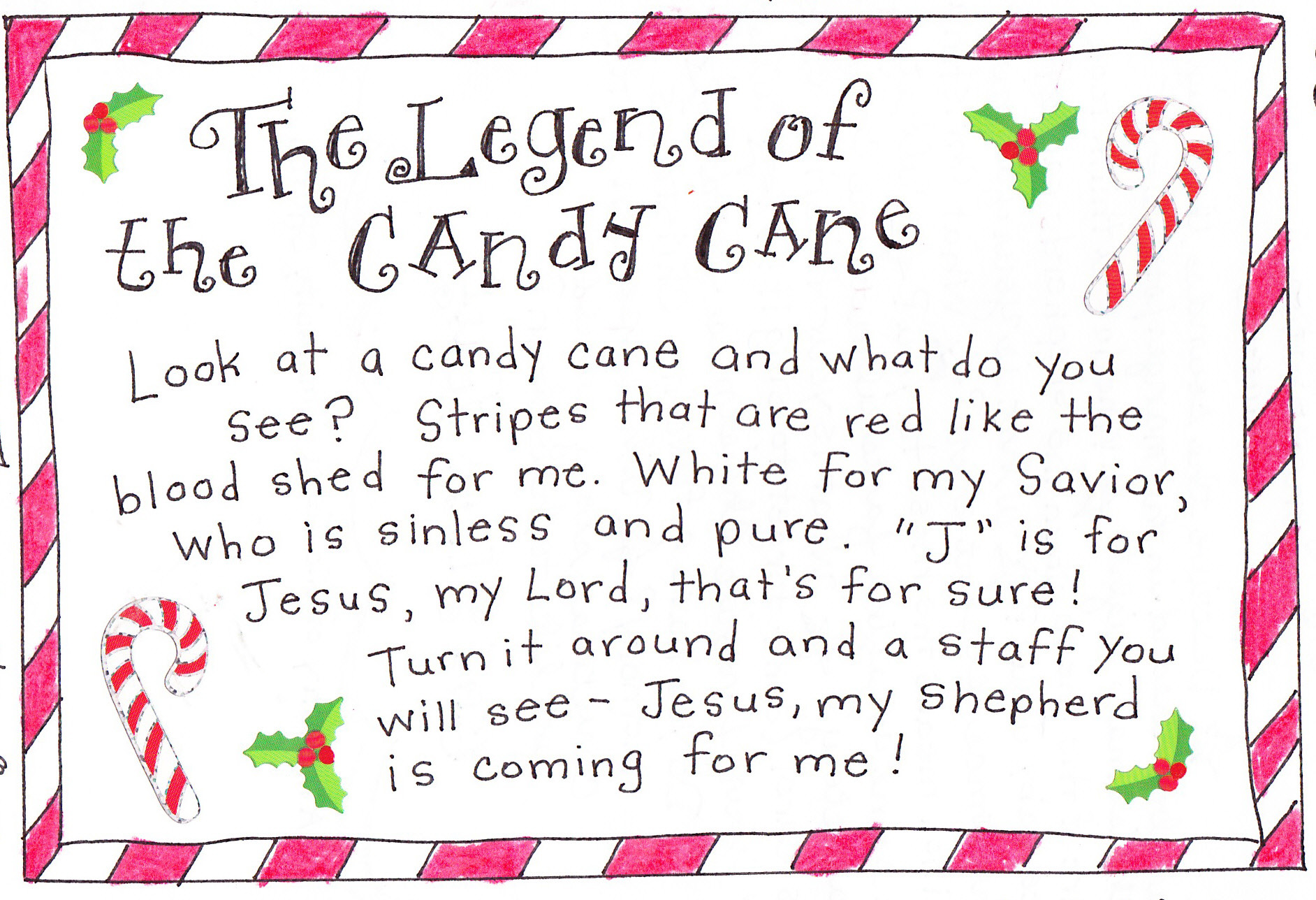 Christmas Candy Canes Story  The Legend of the Candy Cane FREE Printable Happy