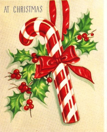 Christmas Candy Card  Vintage Christmas Card Candy Cane by PaperPrizes on Etsy