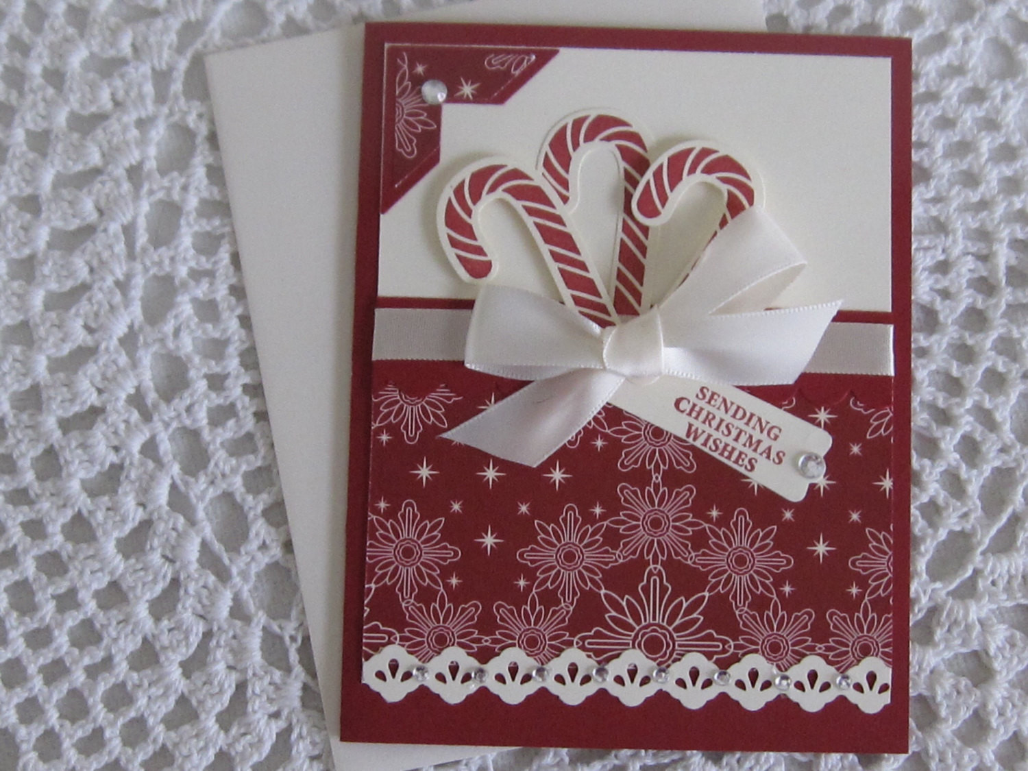 Christmas Candy Card  Handmade Greeting Card Candy Cane Christmas
