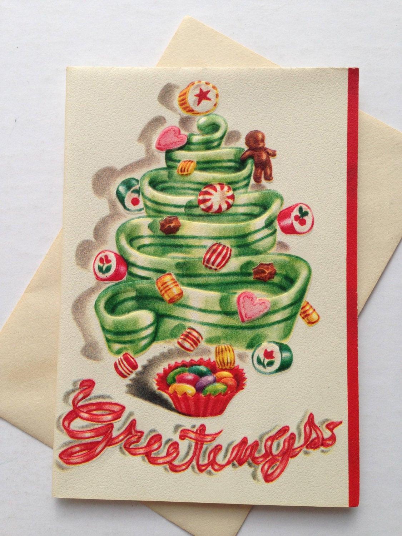 Christmas Candy Card  Vintage Christmas Greeting Card Candy Christmas Candy