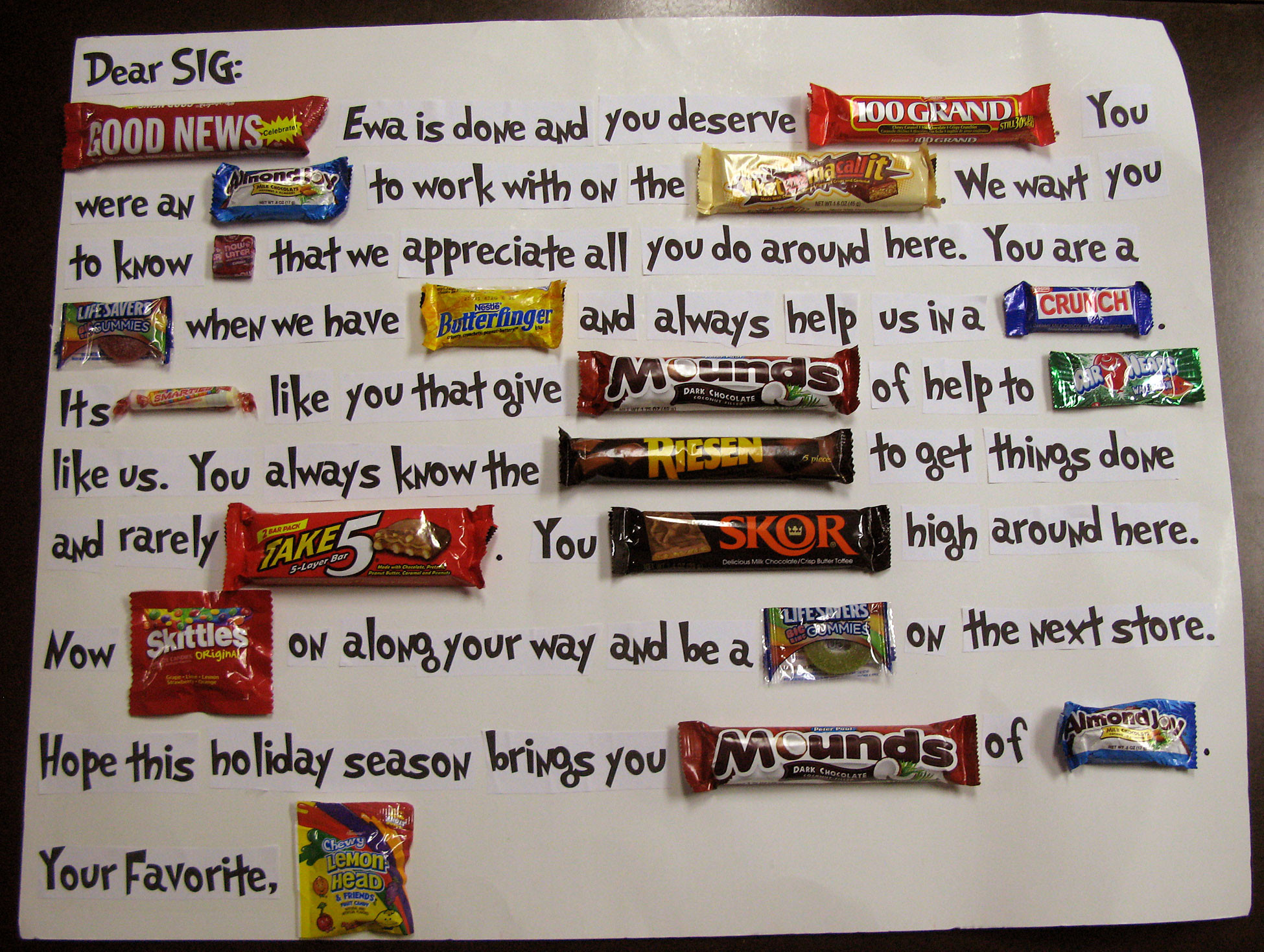 Christmas Candy Card  Candy Bar Quotes QuotesGram