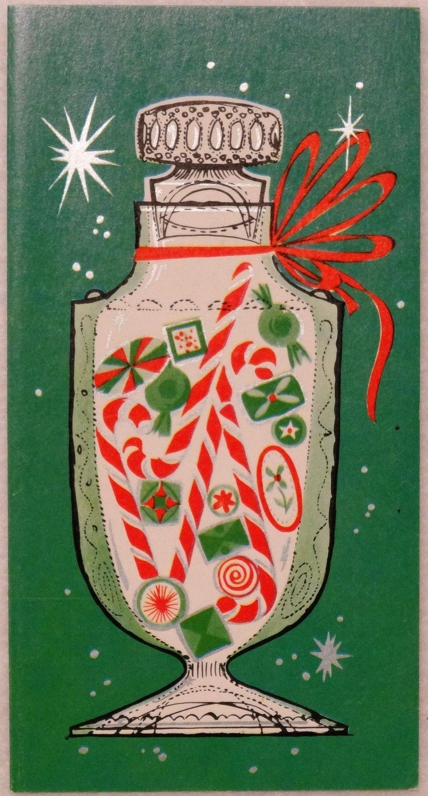 Christmas Candy Card  Details about 1678 60s Mid Century Candy Jar Vintage
