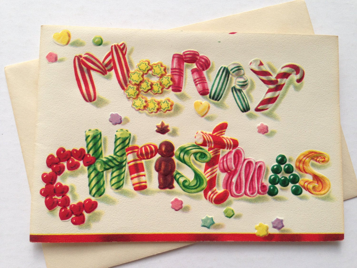 Christmas Candy Card  Vintage Christmas Greeting Card Candy by TheGOOSEandTheHOUND