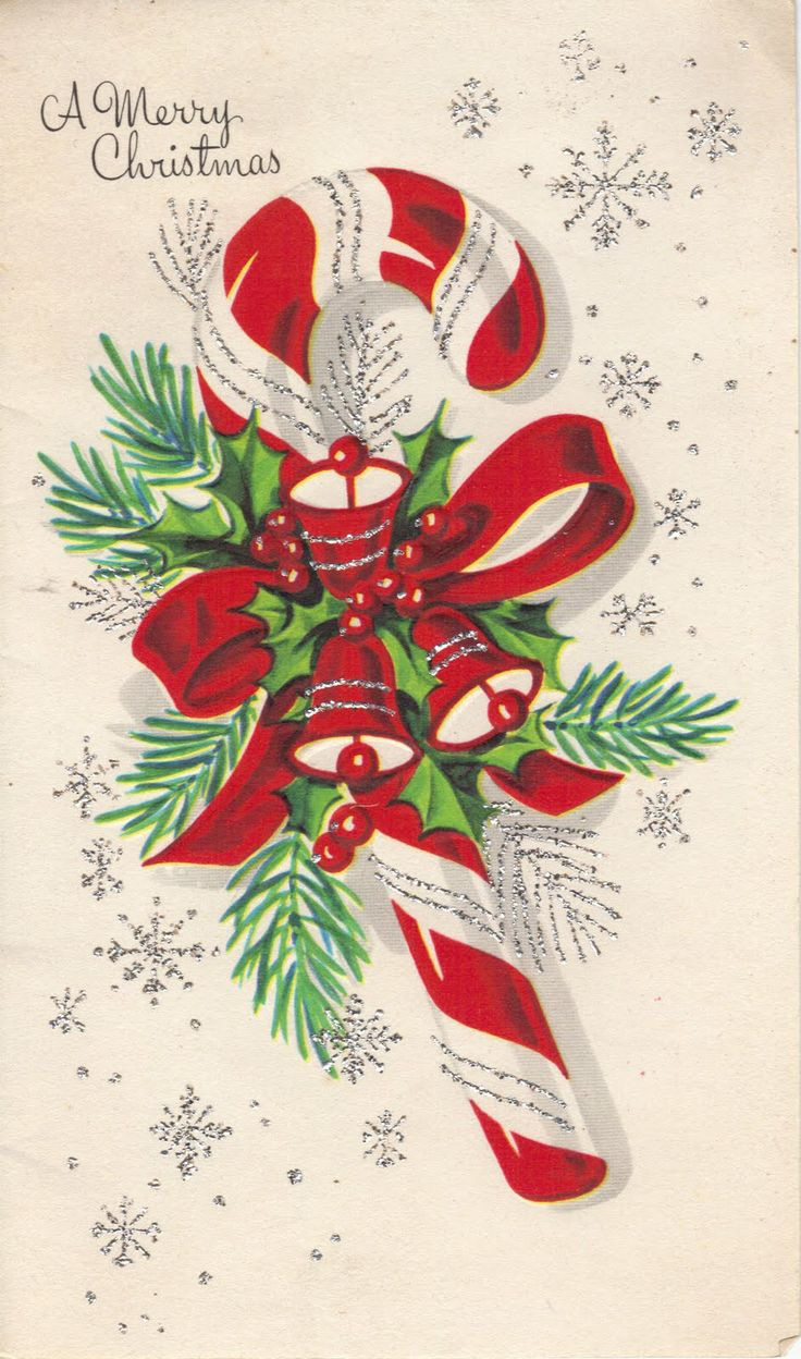 Christmas Candy Card  vintage candy cane greeting card