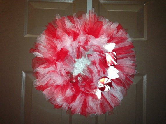 Christmas Candy Clearance  CLEARANCe Christmas holiday Xmas Candy Cane Wreath tulle