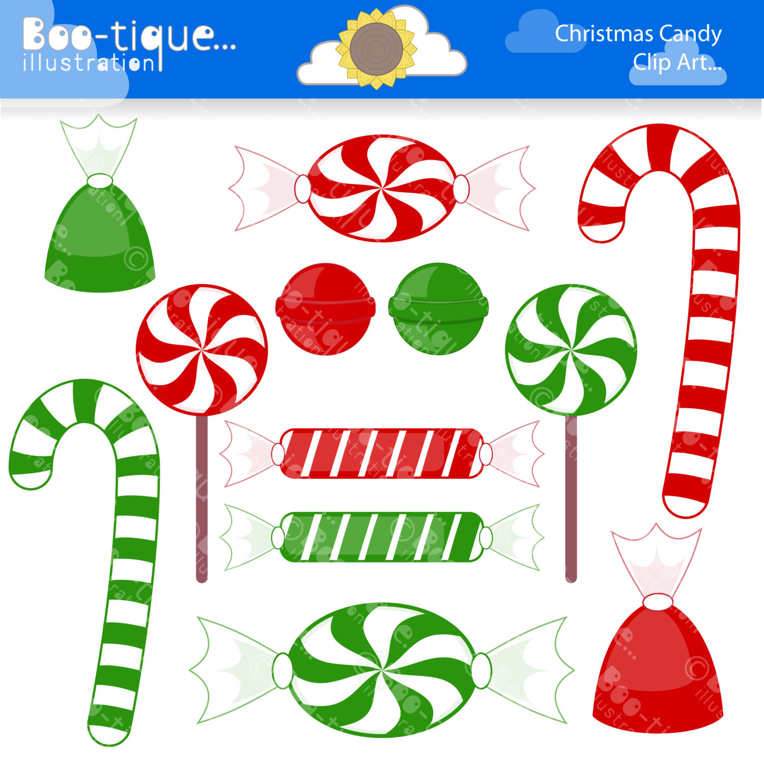 Christmas Candy Clipart  Christmas Candy Digital Clipart for Instant Download