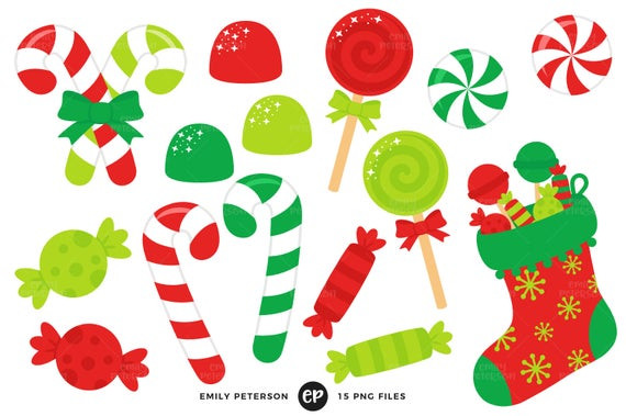 Christmas Candy Clipart  Christmas Candy Clip Art Candy Cane Clipart Stocking Clip