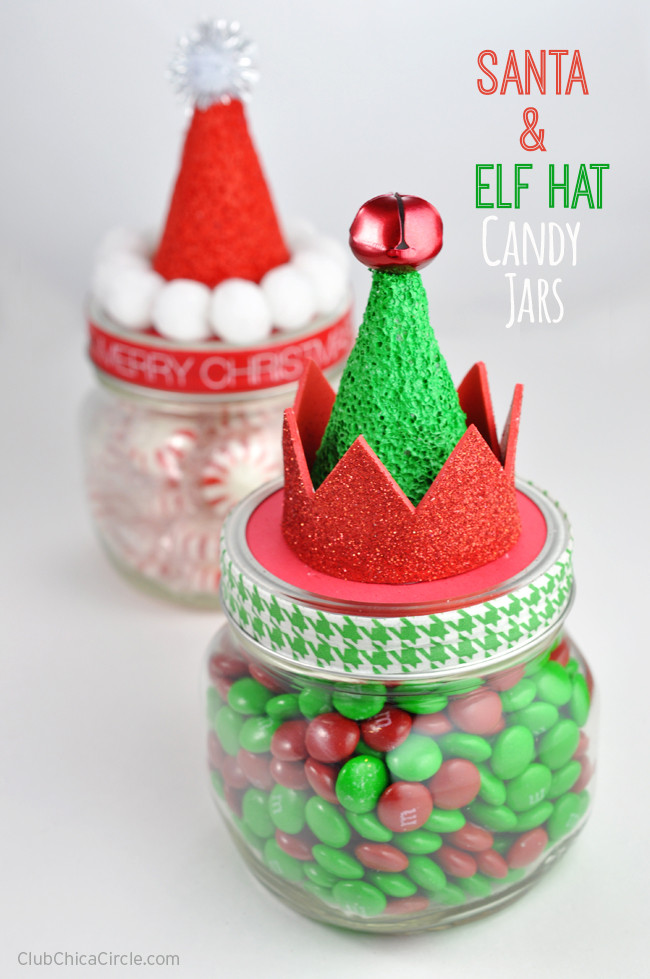 Christmas Candy Containers  Santa and Elf Hat Candy Jars