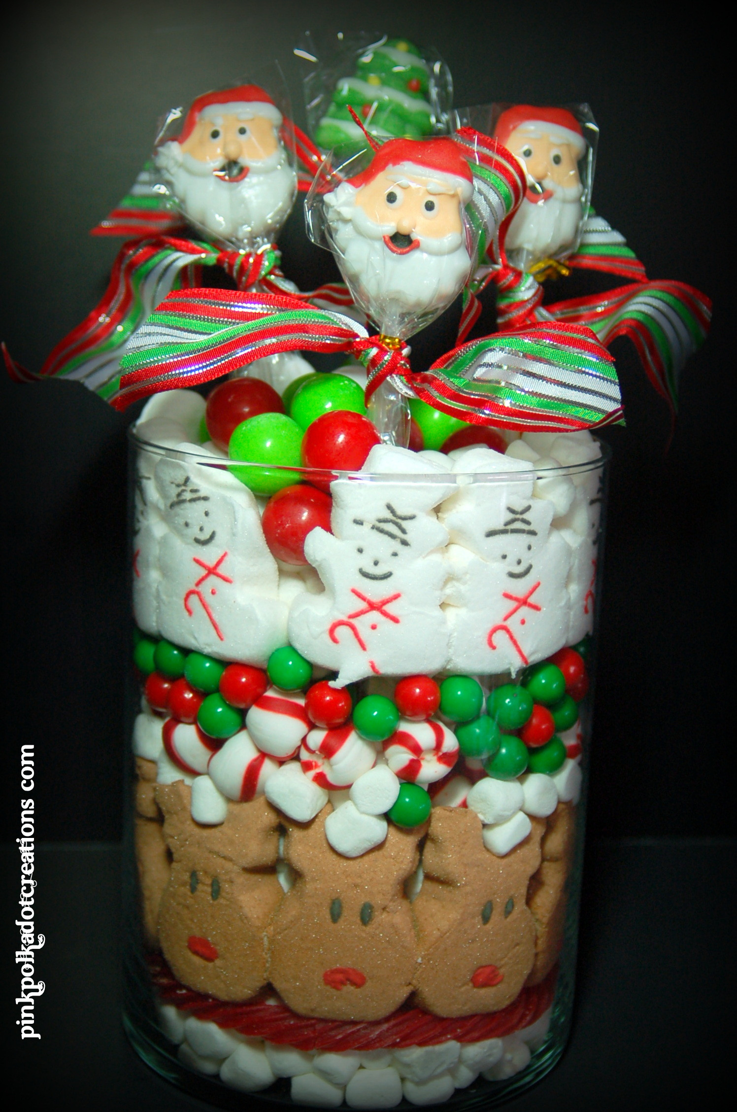 Christmas Candy Containers  Christmas Candy Jar Pink Polka Dot Creations