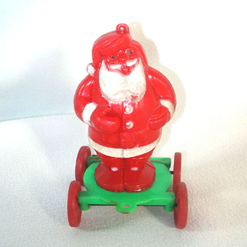 Christmas Candy Containers  Rosen Santa on Wheels Christmas Candy Container Pull Toy