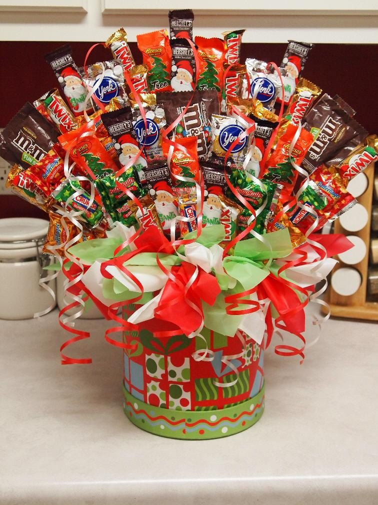 Christmas Candy Craft Ideas  Christmas Candy Bouquet $35 99 via Etsy