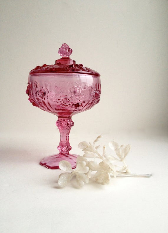 Christmas Candy Dish With Lid  Fenton COLONIAL PINK ROSE pote art glass by