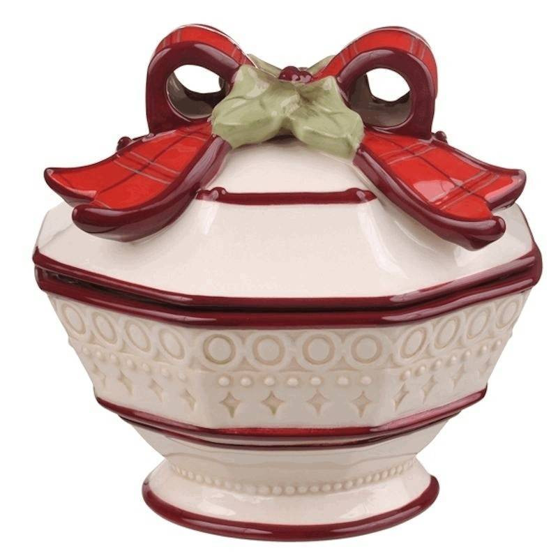 Christmas Candy Dish With Lid  Christmas Candy Dish with Lid Red Plaid Bow $30 00