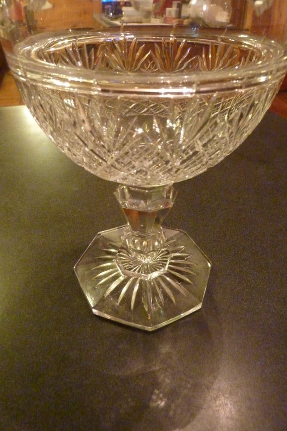 Christmas Candy Dish With Lid  Holiday Crystal Candy Dish Steeple Lid by VintageWarehouseNC