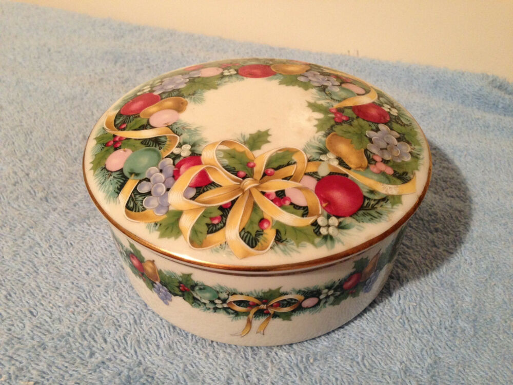 Christmas Candy Dish With Lid  MIKASA CHRISTMAS BOUQUET TRINKET CANDY DISH NO LID