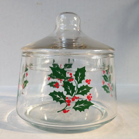 Christmas Candy Dish With Lid  Holly Berry Christmas Candy Dish With Lid by VarietyRetro