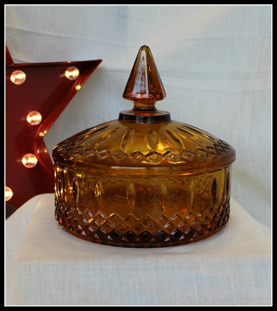 Christmas Candy Dish With Lid  Vintage Amber Glass Candy Dish with Lid candy dish vintage