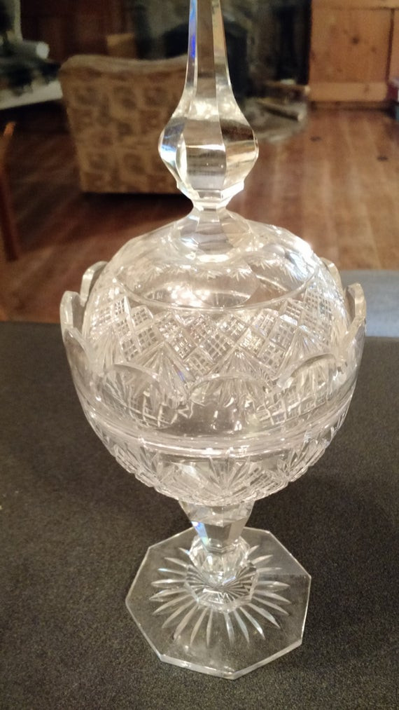 Christmas Candy Dish With Lid  Holiday Crystal Candy Dish Steeple Lid Pedestal Candy Dish