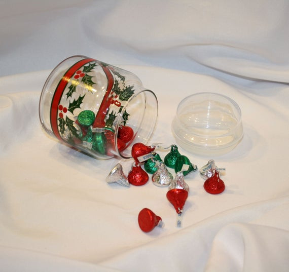 Christmas Candy Dish With Lid  Items similar to Holly Berry & Red Ribbon Candy Dish