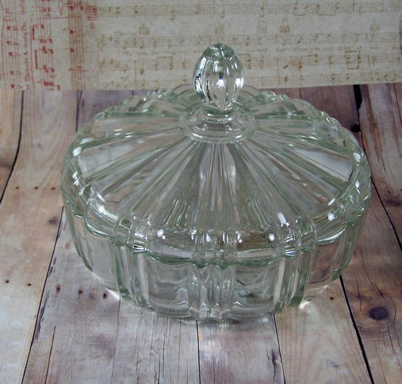 Christmas Candy Dish With Lid  Vintage Anchor Hocking Clear Candy Dish Lid by