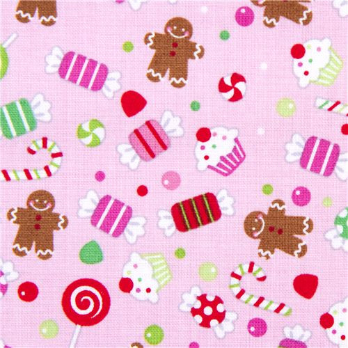 Christmas Candy Fabric  pink Riley Blake Christmas fabric colourful candy