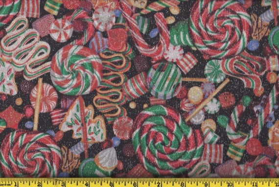 Christmas Candy Fabric  Black Christmas Candy and Cookies Fabric per Yard