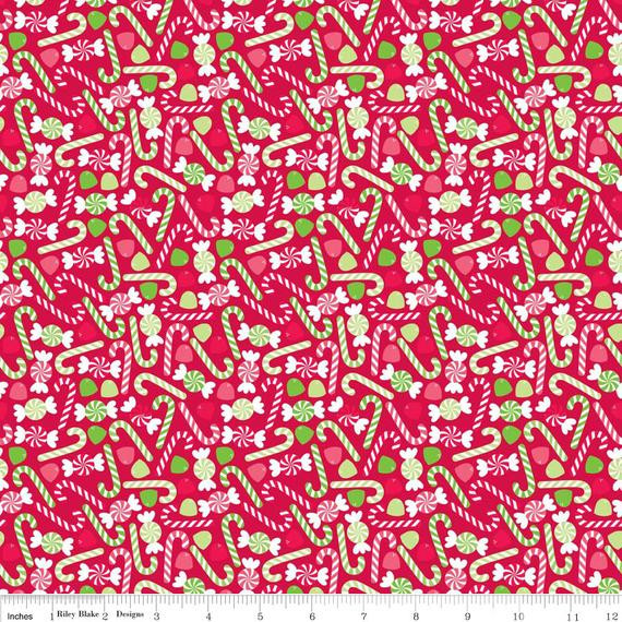 Christmas Candy Fabric  Riley Blake Christmas Fabric Red With Candy Canes Gum Drops