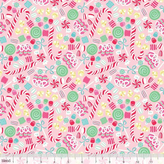 Christmas Candy Fabric  Christmas Candy Pink Sugar Rush Fabric Blend by josiemart