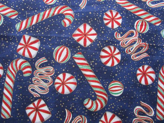 Christmas Candy Fabric  Christmas Candy Fabric Metallic Gold Holiday by BettyandBabs