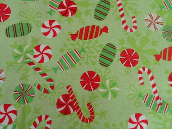 Christmas Candy Fabric  Christmas Candy Cotton Print Fabric 2yds Free Shipping