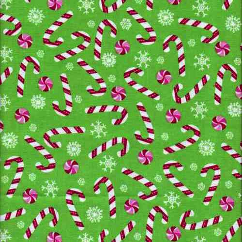 Christmas Candy Fabric  Christmas Candy Canes Cotton Fabric
