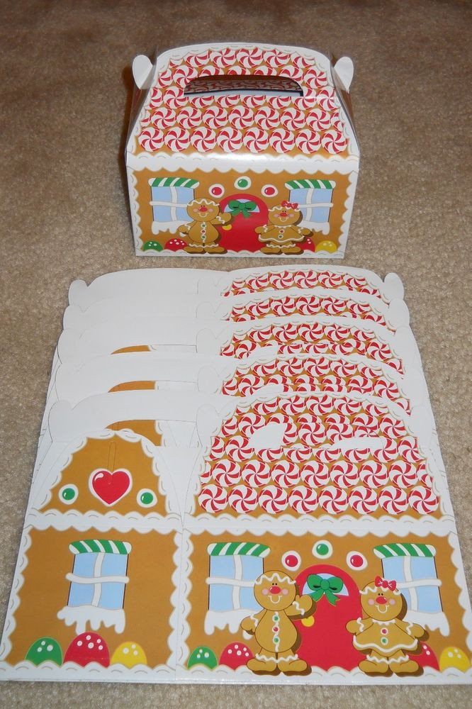 Christmas Candy Gift Box  Lot of 6 or 12 Gingerbread House Christmas holiday treat