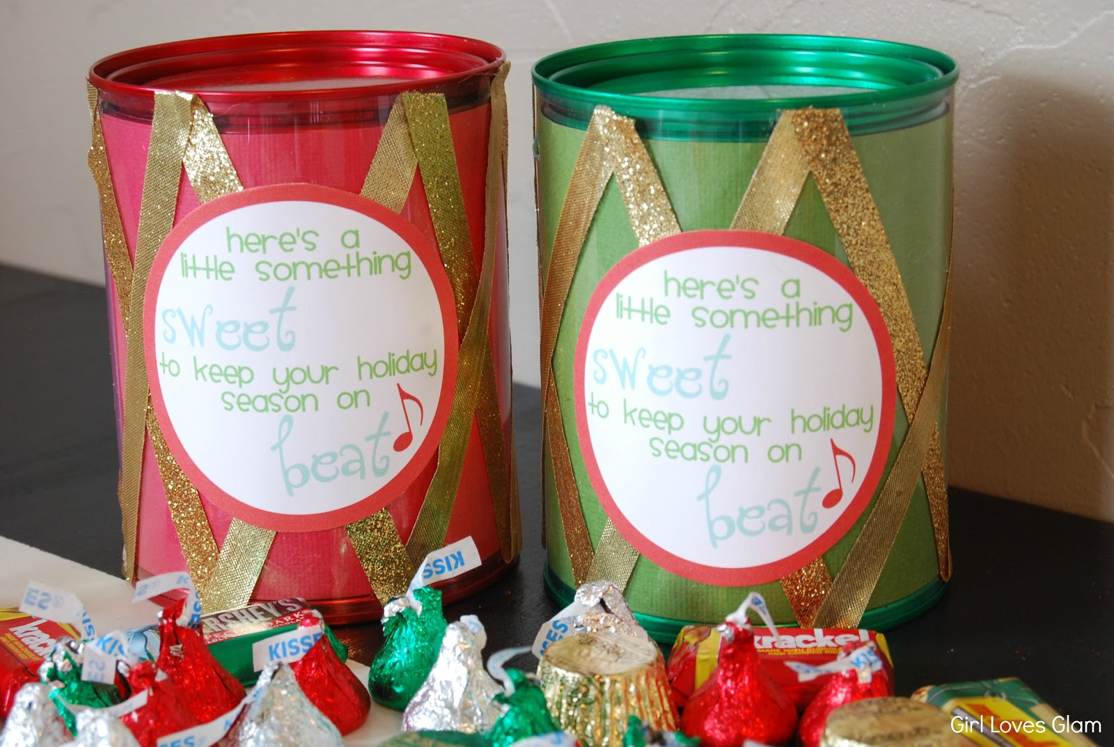 Christmas Candy Gifts  Christmas Candy Drum Neighbor Gift Free Printable Girl