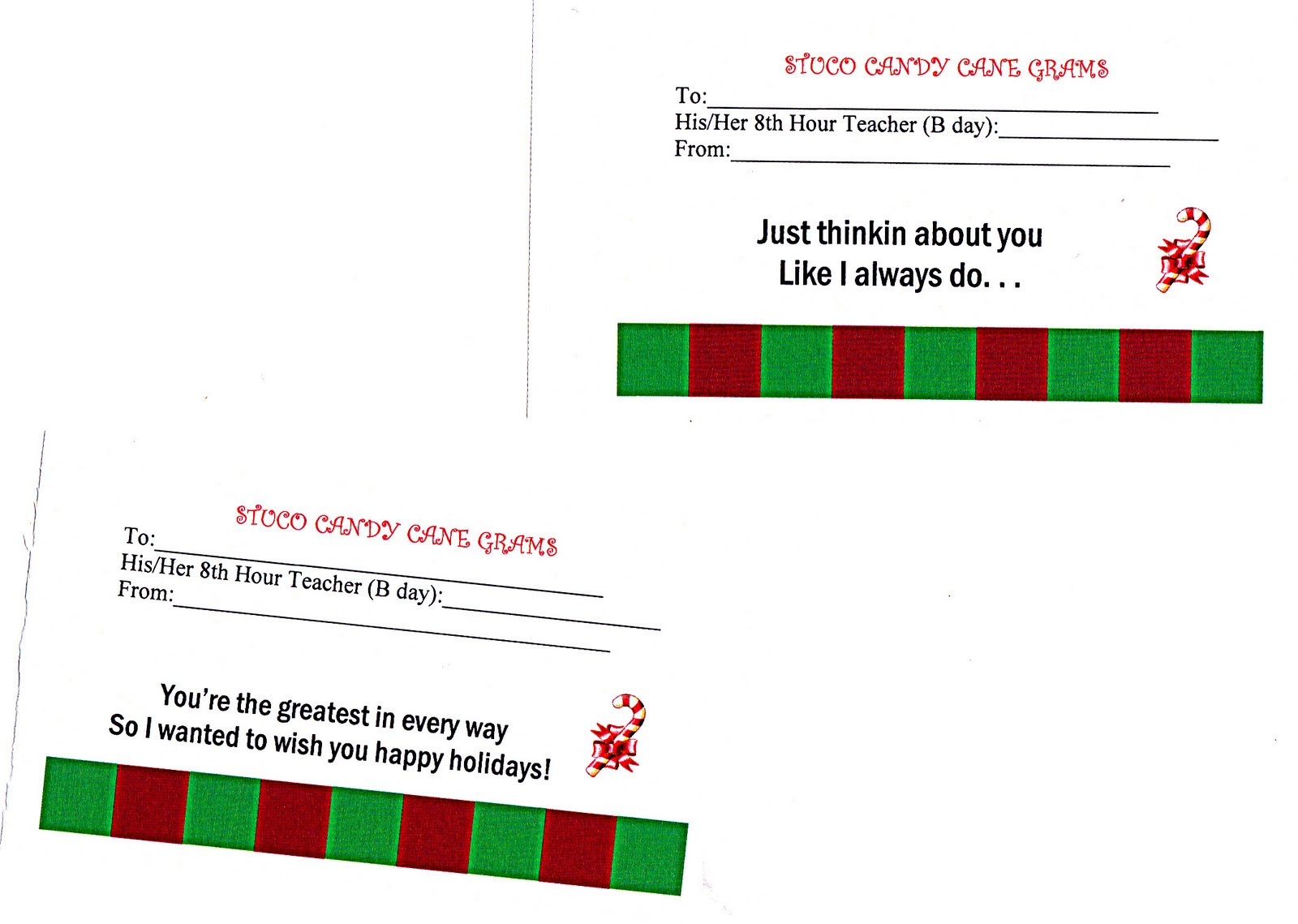 Christmas Candy Gram Template  writingmagic26 Candy Cane Grams