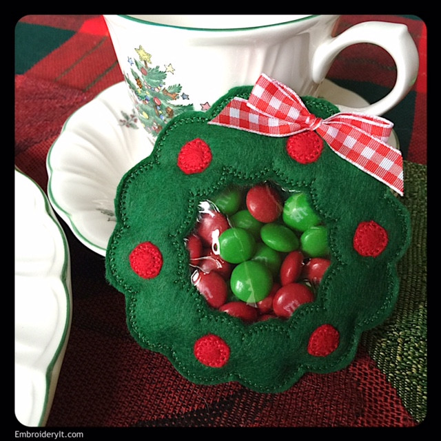 Christmas Candy Holders  Machine Embroidered Christmas Candy Holder Set Embroidery It