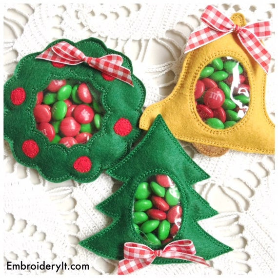 Christmas Candy Holders  Candy Holder Machine Embroidery Christmas Set Pine Tree