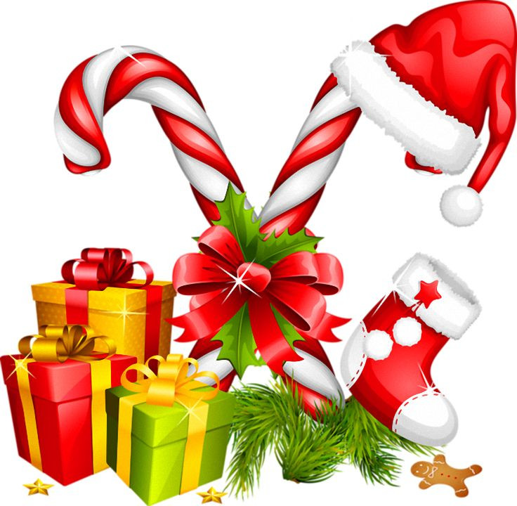 Christmas Candy Images  Santa Hat Gifts and Candy Canes Christmas Decoration