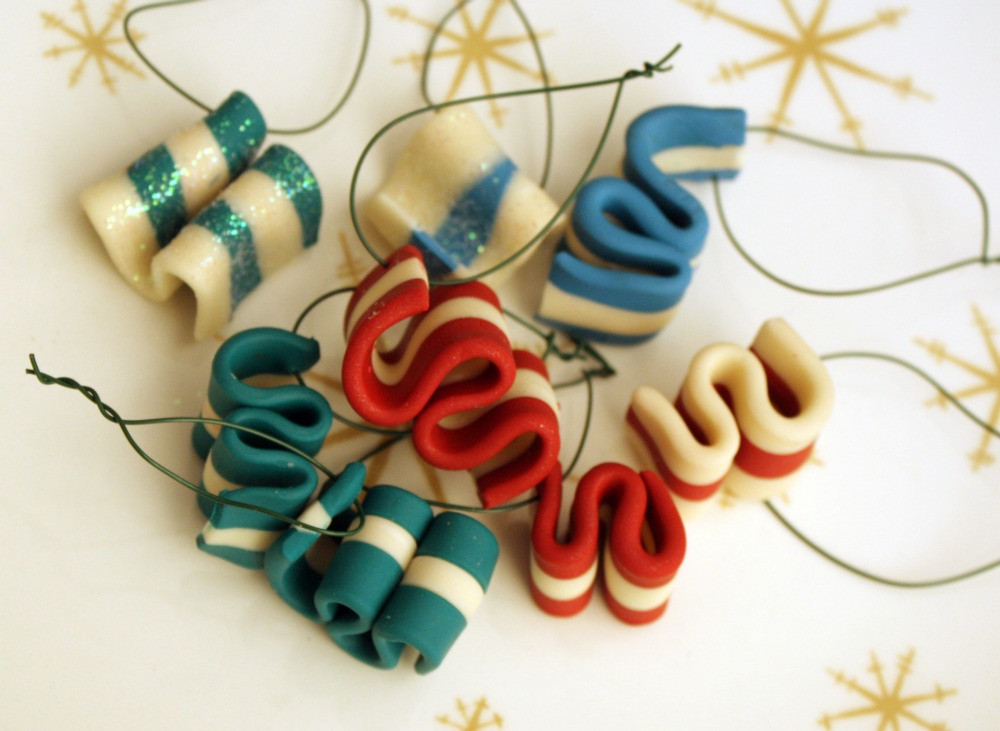 Christmas Candy Ornaments  Wild Olive ornamentation ribbon candy from erin