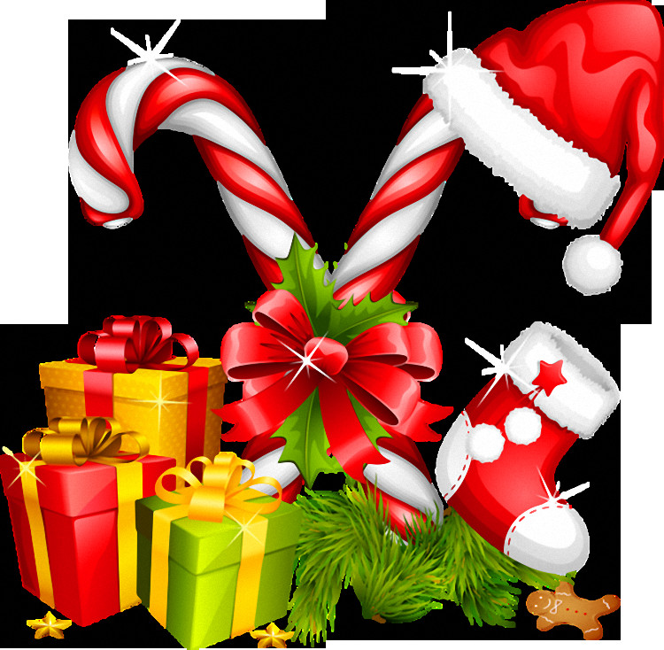 Christmas Candy Png  Santa Hat Gifts and Candy Canes Christmas Decoration