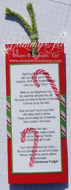Christmas Candy Poems  Christmas Fudge tutorial