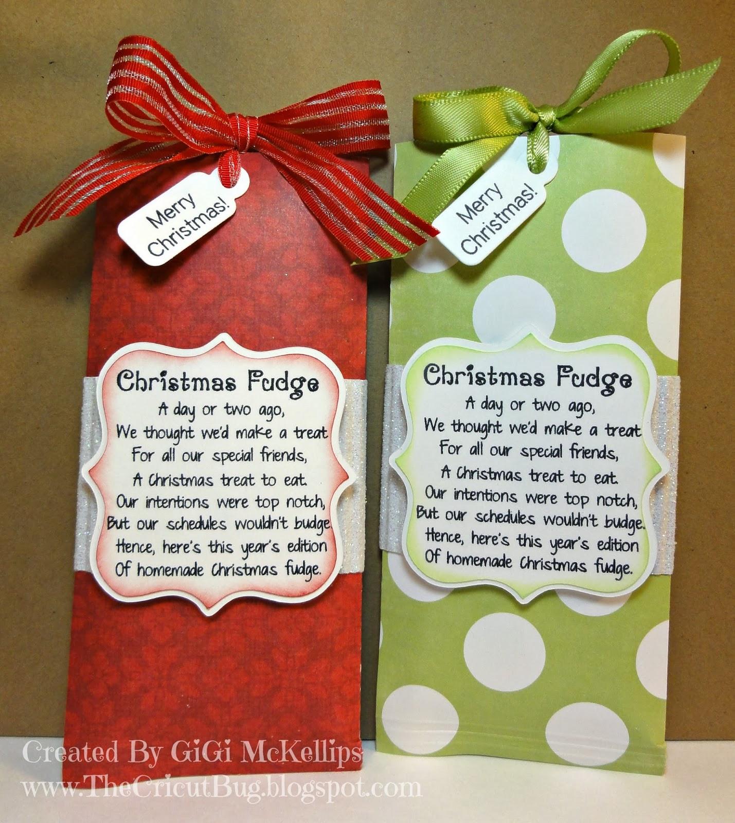 Christmas Candy Poems  The Cricut Bug Christmas Fudge