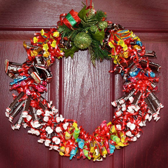 Christmas Candy Sales  Cyber monday Sale Candy Wreath Edible Holiday by JusPrintables