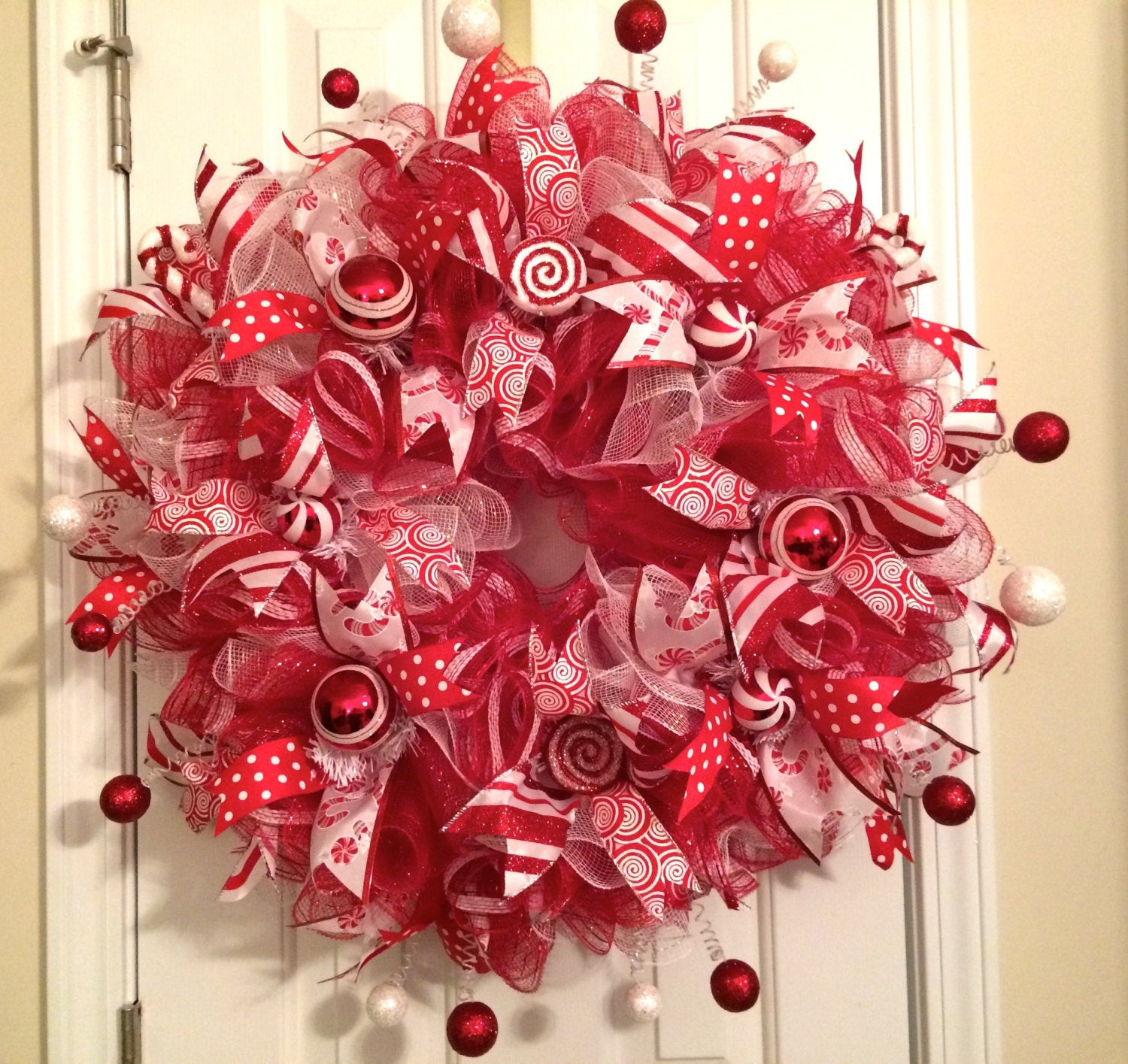 Christmas Candy Sales  SALE Christmas Candy Cane Peppermint Ruffle Deco Mesh Wreath