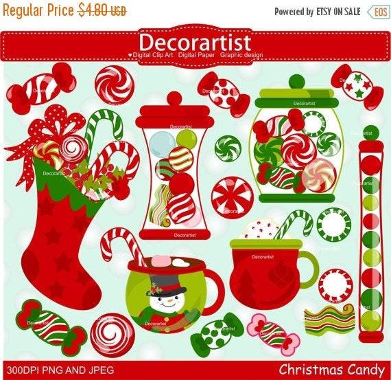 Christmas Candy Sales  ON SALE Christmas clipart Christmas candy clipart Christmas