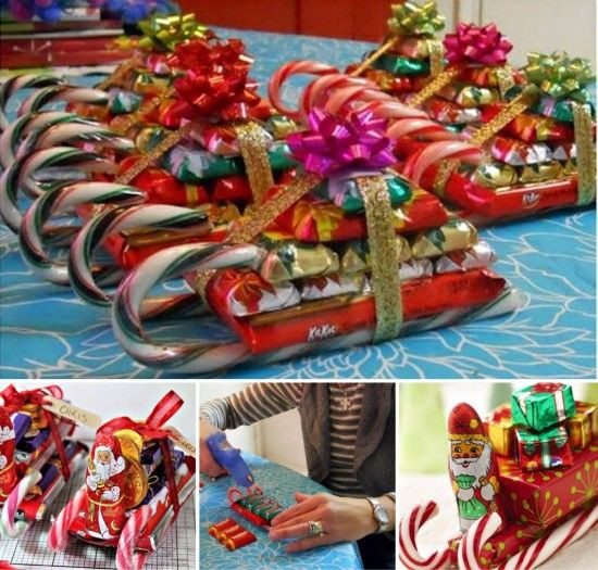 Christmas Candy Sleds  Chocolate Candy Cane Santa Sleigh s and