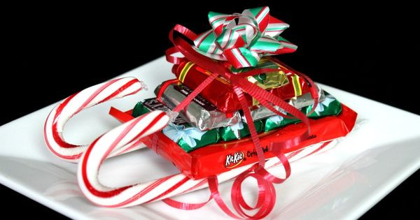 Christmas Candy Sleds  CHRISTMAS CANDY CANE SLEIGH HOW TO crafts