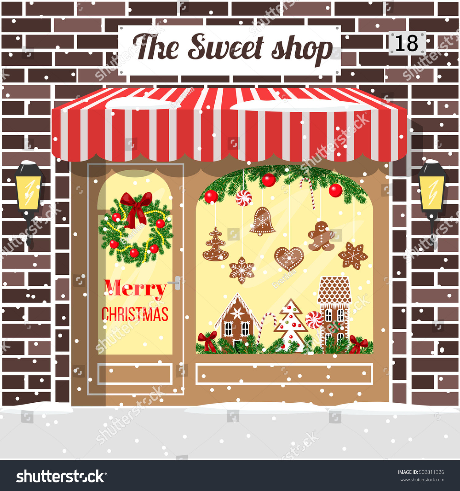 Christmas Candy Store  Christmas Decorated Illuminated Sweet Shop Candy Stock