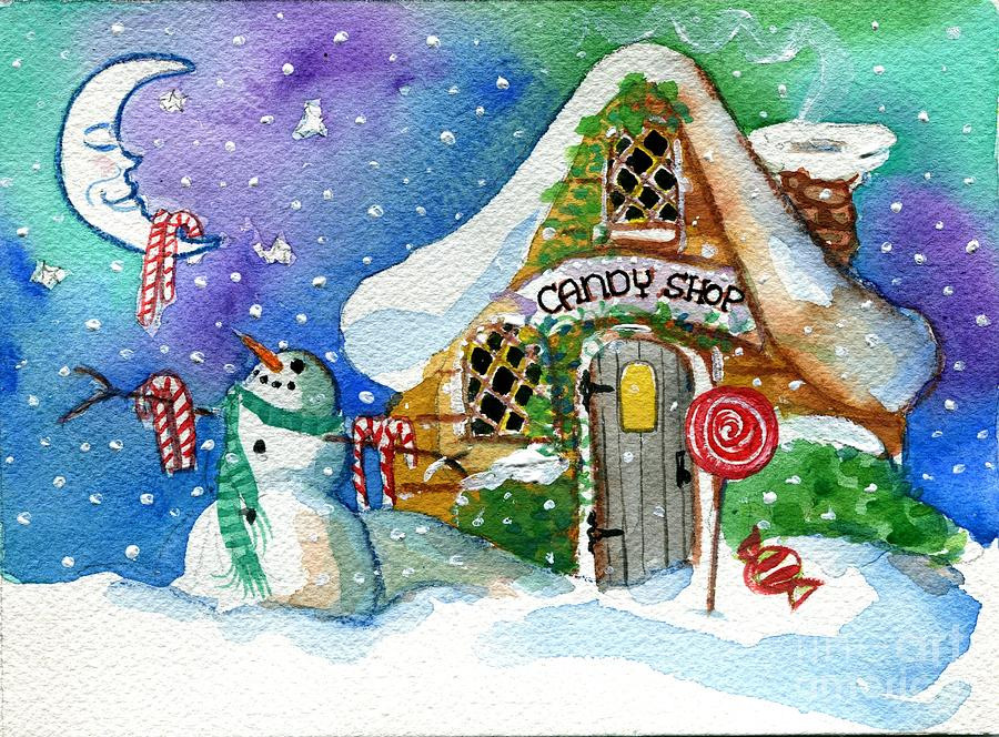 Christmas Candy Store  Christmas Candy Shop Painting by Sylvia Pimental